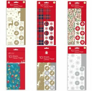 20 Sheets Christmas Tissue Paper - Seasonal or Snowflakes, stag, Silver
