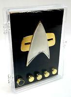 Star Trek Deep Space 9/Voyager Metal Communicator Pin & Rank Pip Set of 6 w Box