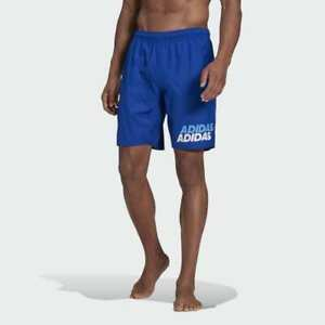 Adidas Classic Length Wording Swim Shorts Blue GM2258