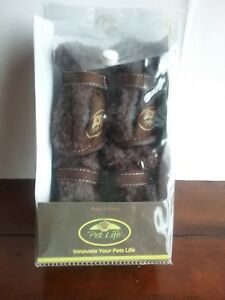 Pet Life Paw Wear with Thinsulate Brown Suede and Faux Fur Size Medium NIB