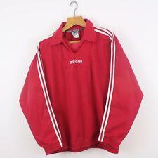 VINTAGE 90 S ADIDAS Rosso Pullover Sports Felpa | Trifoglio Retrò | L Grandi