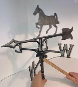 Antique 1955 Horse Weathervane Metal Primitive Folk Art w/ Directionals see pics