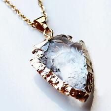 24K Gold Semi-Precious Natural Stone Crystal Quartz Arrowhead Pendant - Large