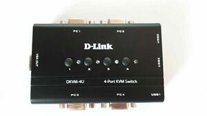 D-LINK DKVM-4U KVM Switch 4 Port USB VGA Monitor Keyboard Mouse 1.8m 6FT cable