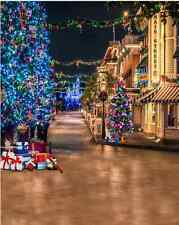 10x10FT Main Street Christmas Tree Custom Photo Studio Background Backdrop Vinyl