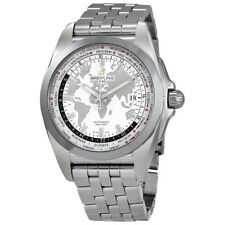 Breitling Galactic Unitime Automatic White Dial Mens Watch WB3510U0-A777SS