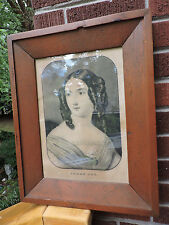 Antique AMERICAN PINE Wood Panel Picture FRAME Currier Print SARAH ANN c1846