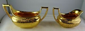 Stouffer Fine China AOG All Over Gold Creamer & Sugar Vintage Set Roses Daisies