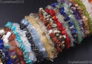 New Handmade 5-8mm Natural Gemstone Chip Beads Stretchy Bracelet Healing Reiki