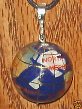 UNIQUE STERLING SILVER 25 mm WORLD  INLAY GLOBE GEMSTONE PENDANT NECKLACE