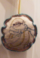 NWT Crate & Barrel Cynthia Treen Linen Embroidered Bird Christmas Ornament