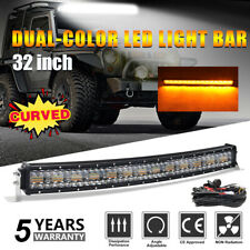 "32""INCH 1968W CURVED LED Fog Light Bar Amber/White Dual Color Change Offroad SUV"