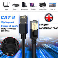 1-15M RJ45 CAT8 Ethernet Network SFTP 40 Gbps Patch Lead Flat Fast Cable UK!