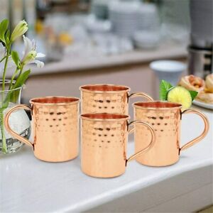 Ajuny Copper Mugs Moscow Mule Set of 4 Inside Nickle Hammered for Drinkware Gift
