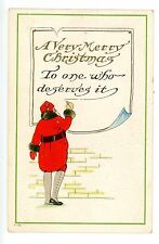 Merry Christmas -RED SUIT SANTA WRITING A NOTE-Embossed Postcard