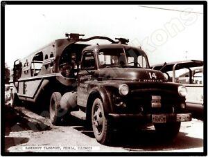 Dodge Trucks New Metal Sign: Hanerhoff Transport, Peoria, Illinois C. 1953
