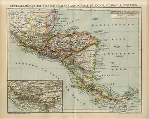 1895 GUATEMALA HONDURAS SALVADOR NICARAGUA COSTA RICA PANAMA Antique Map