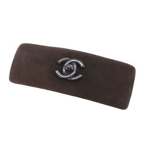 CHANEL CC Logos Turnlock Charm Hair Barrette Brown Suede Authentic #AB822 O