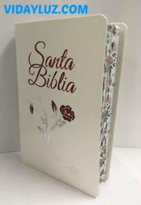 BIBLIA REINA VALERA 1960, LETRA GRANDE, PIEL BLANCA CON FLOR e INDICE