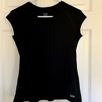 Champion DuoDry Black Workout yoga Running Mesh Back Athletic Shirt Top size XS