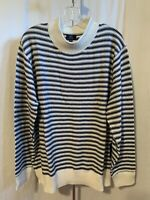 George Mens Size XL (46-48) Blue White Striped Crew Neck Long Sleeve Sweater NWT