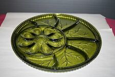 Olive Green Indiana Glass 8 Section Deviled Egg and 7 Section Relish Plate #1