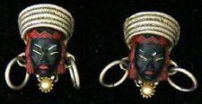 Vintage SELRO SELINI Earrings Nubian Queen Blackamoor ENAMEL Clip-On 1950's
