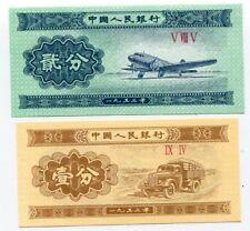 CHINA SET 2 PCS 1 2 FEN 1953 P 860 861 UNC