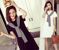 Korean Women Summer Tunic Dress Top Casual Loose Stripe Short Sleeve Shift Shirt