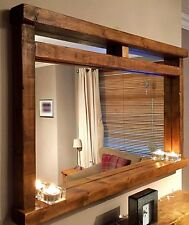 * HANDCRAFTED Rustic/Farmhouse/Driftwood Style Solid Wood Mirror With Shelf