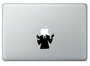 Funny Middle Rude Finger Guy Apple Macbook Removable Vinyl Sticker Skin Decal