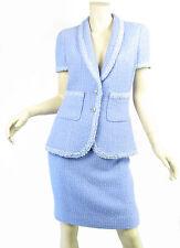 CHANEL 95P 2pc Mini Skirt Jacket Suit Set Lavender Fantasy Tweed Sequin Sz 42 M