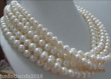 "Beautiful 8-9mm WHITE AKOYA PEARL NECKLACE 100""AAA"