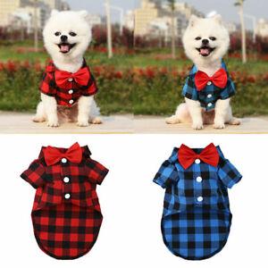 Pet Clothes Wedding Dress Formal Party T Shirt Dog Cat Bowtie Gentleman Costume#