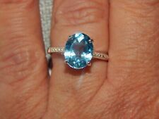 SKY BLUE TOPAZ OVAL SOLITAIRE RING-SIZE R-3.200CTS-STERLING SILVER 925