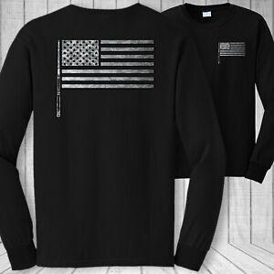 billiards American flag long sleeve t-shirt, USA billiards pool stick flag shirt