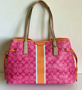 NEW! COACH SIGNATURE STRIPE DRAWSTRING CARRYALL TOTE BAG $358 PINK ORANGE SALE