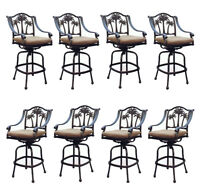 Patio palm tree cast aluminum barstool set of 8 outdoor swivel bar stools Bronze