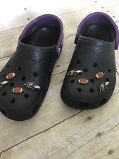 Black Ravens Crocs, Mens 4 5, Womens 6 7, Euc