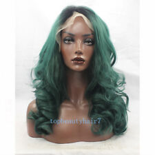 1B/Green Ombre Color Lace Front Wig Synthetic Hair Fibe Long Wavy wigs