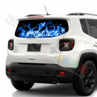 Flames Decals Rear Window See Thru Stickers Perforated for Jeep Renegade 2020