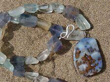 Collana argento, 1 opale matrice Australia di 33 ct, fluorite, acquamarina