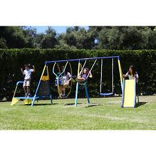 Swing Set Slide Trampoline Playground Backyard Metal Toddler Kids Outdoor Fun