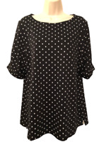 Karen Scott Women's Blouse Plus XXL Short Sleeve Polka Dot Pullover Top