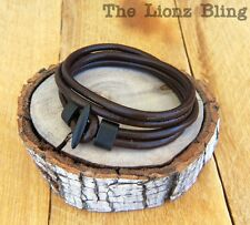 Urban Vintage style Brown Leather Wrap Bracelet / Choker Flat Black Toggle Clasp