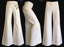 NWT Chloe Net-a-Porter Off White Ivory High Waist Pants Trousers 2 36 TALL LONG