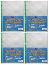 100 x Extra Strong A4 Plastic Wallets 90 Micron + Glass Clear Poly Pockets Files
