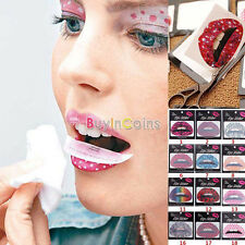3X Temporary Lip Tattoo Sticker Art Transfers Lady Party Fancy Dress Up、Pop
