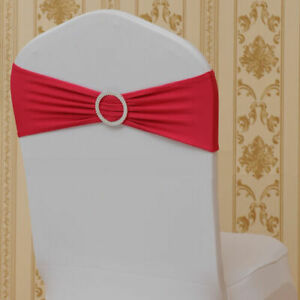 100pcs Spandex Stretch Chair Cover Sash Bow Wedding w/ Buckle Slider Sashes