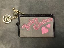 Juicy Couture Gray Velour Leather Coin Pouch Wallet Pink